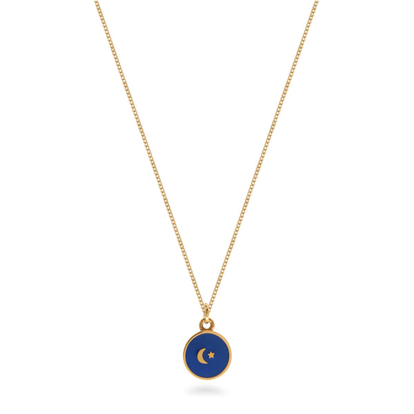 Small Moon and Star Enamel Necklace Gold Vermeil