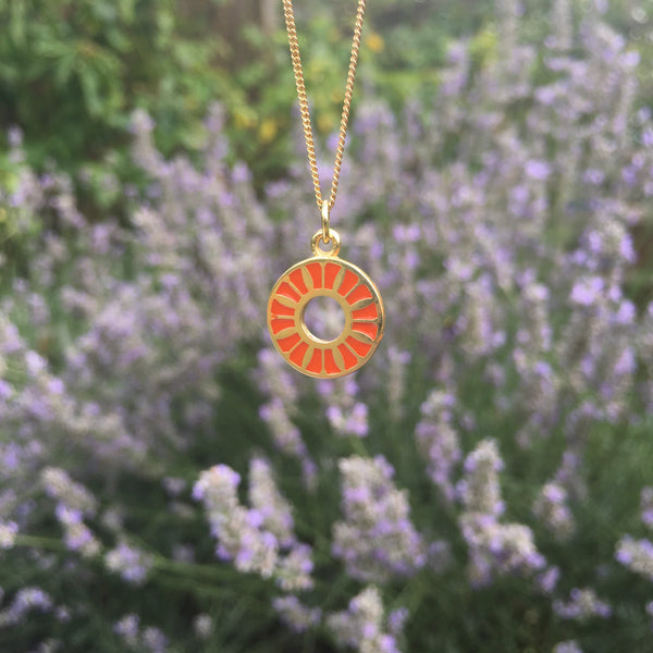 Flower Ring Enamel Necklace Gold Vermeil