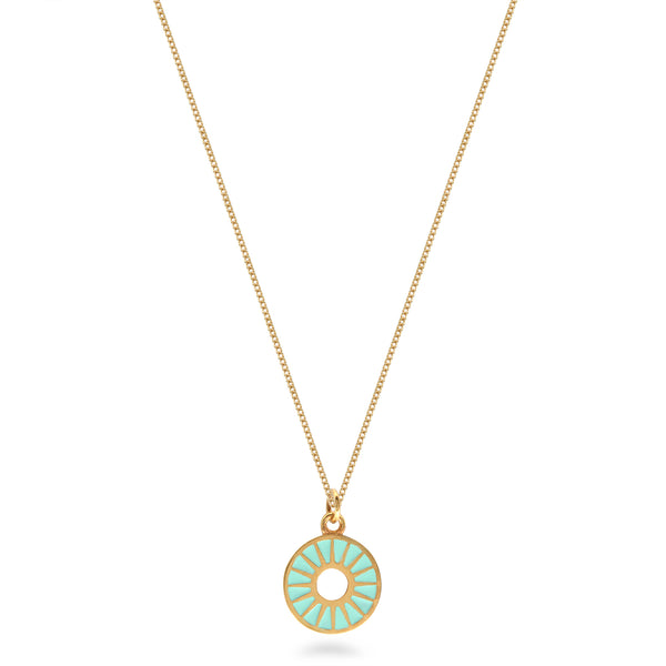 Sunburst Ring Enamel Necklace Gold Vermeil