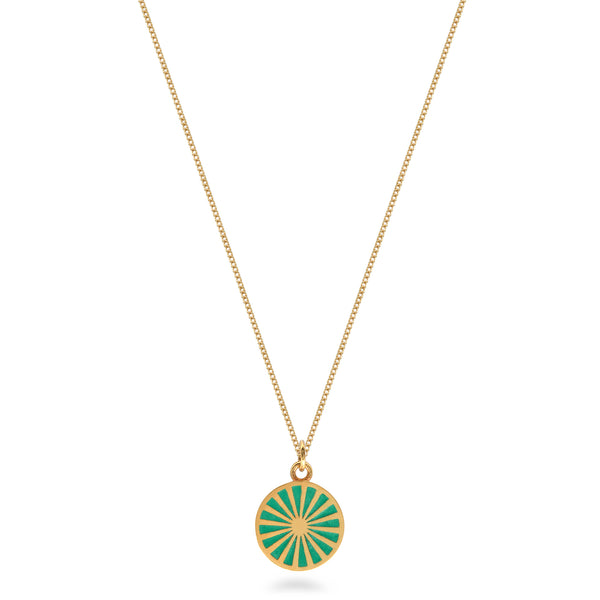 Spinning Wheel Enamel Necklace Gold Vermeil