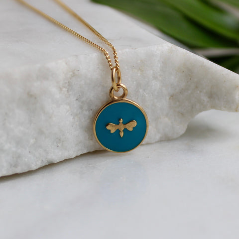 Small Bee Enamel Necklace Gold Vermeil