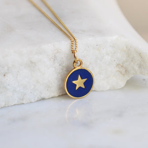 Small Star Enamel Necklace Gold Vermeil