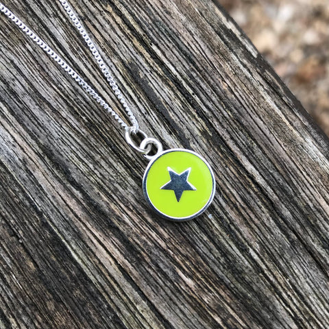 Small Star Enamel Necklace Sterling Silver Lime