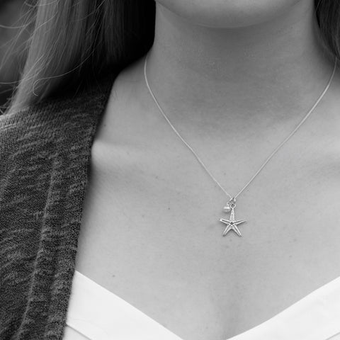 Starfish and Pearl Necklace Sterling Silver
