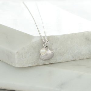 Shell and Pearl Necklace Sterling Silver