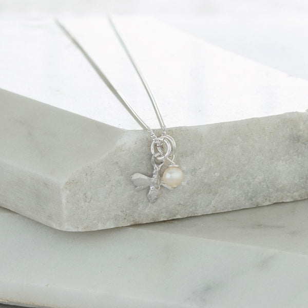 Bee and Pearl Necklace Sterling Silver