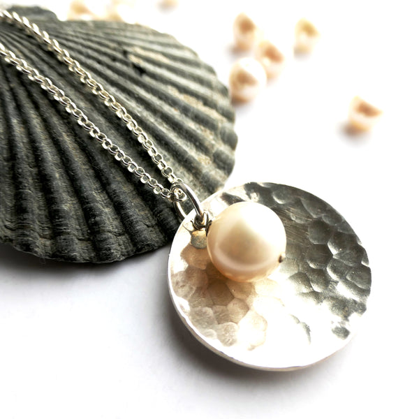Hammered Dome and Pearl Necklace Sterling Silver