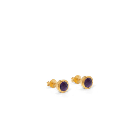 Birthstone Stud Earrings February: Amethyst and Gold Vermeil