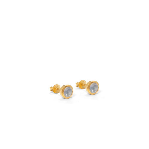 Birthstone Stud Earrings June: Moonstone and Gold Vermeil