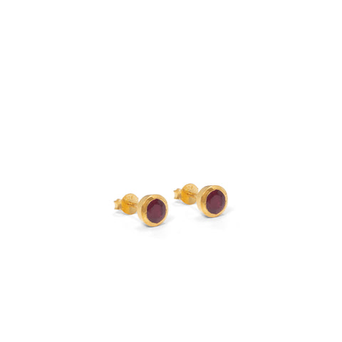 Birthstone Stud Earrings July: Ruby and Gold Vermeil