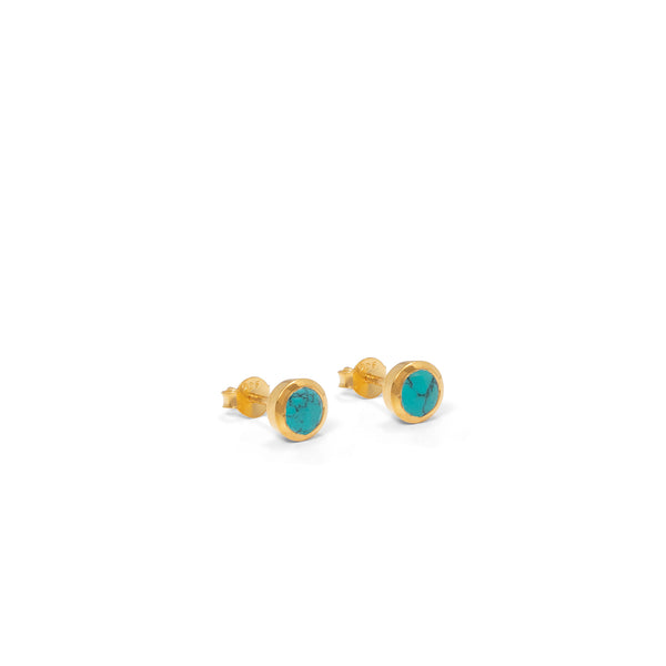 Birthstone Stud Earrings December: Turquoise and Gold Vermeil