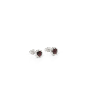Birthstone Stud Earrings January: Garnet and Sterling Silver
