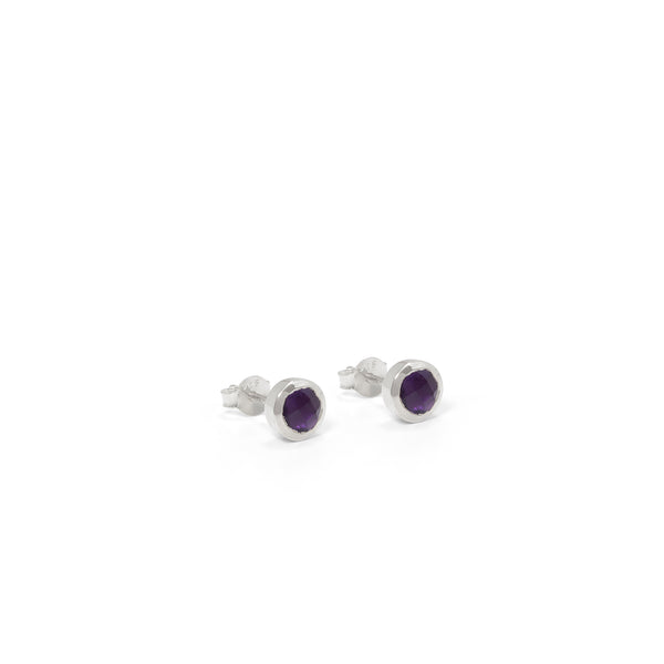 Birthstone Stud Earrings February: Amethyst and Sterling Silver