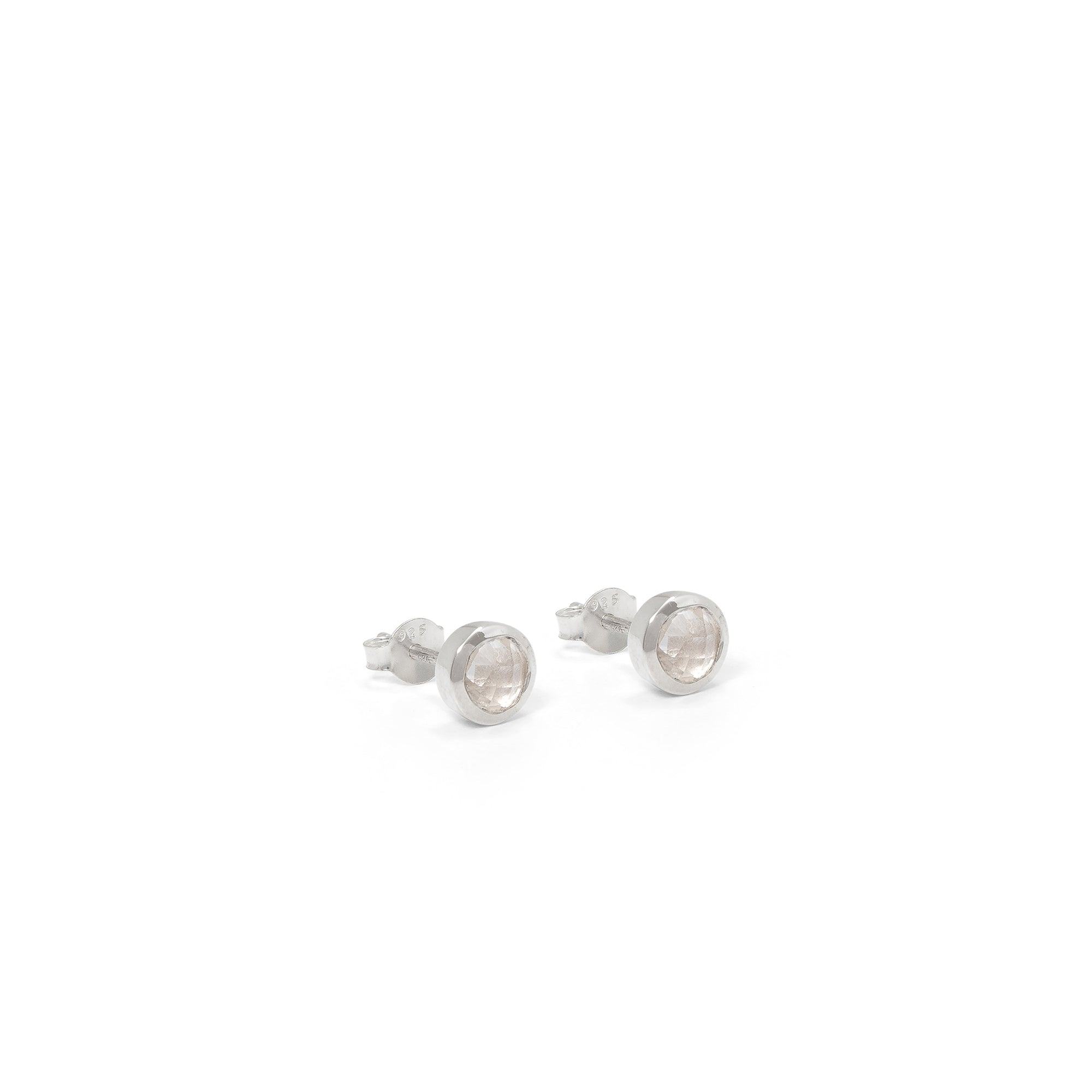 Birthstone Stud Earrings April: Rock Crystal and Sterling Silver