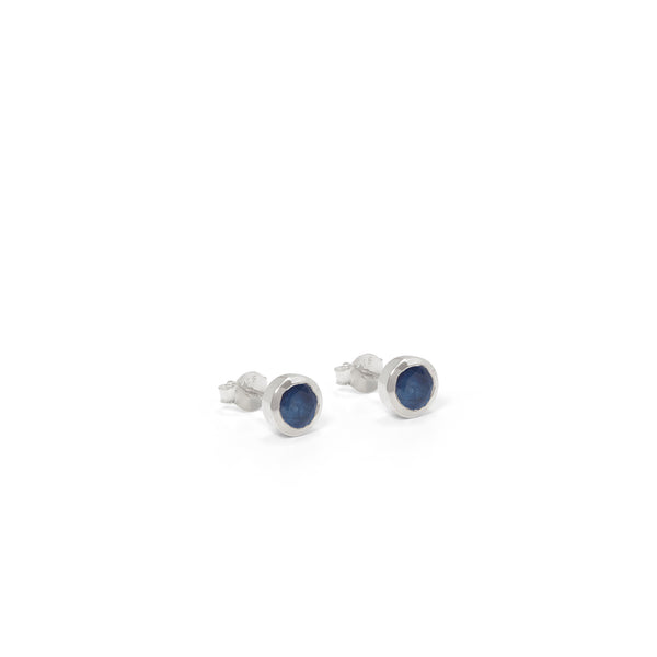 Birthstone Stud Earrings September: Sapphire and Sterling Silver