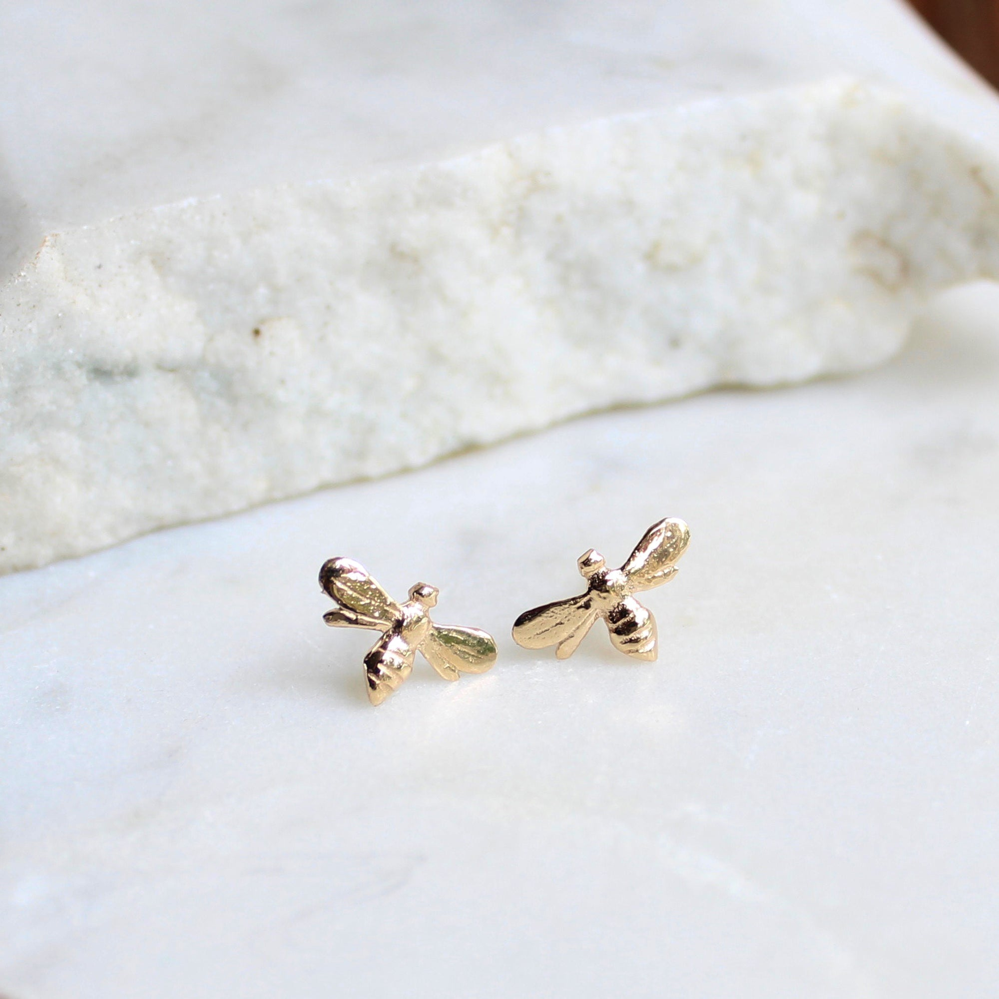 Tiny Bee Stud Earrings 14ct Solid Gold