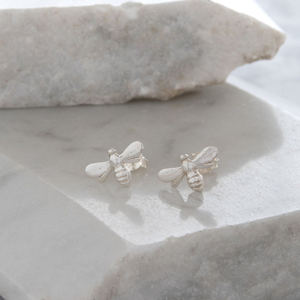 Tiny Bee Stud Earrings Sterling Silver