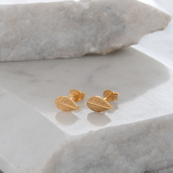Leaf Earrings Gold or Rose Gold Vermeil