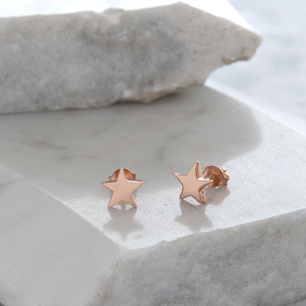 Star Stud Earrings Gold or Rose Gold Vermeil