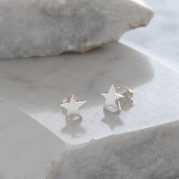 Star Stud Earrings Sterling Silver