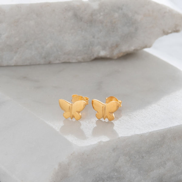 Butterfly Stud Earrings Gold or Rose Gold Vermeil