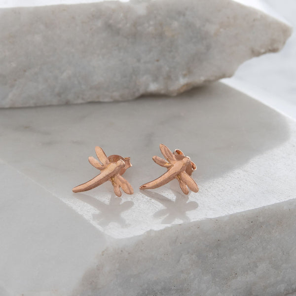 Dragonfly Stud Earrings Gold or Rose Gold Vermeil