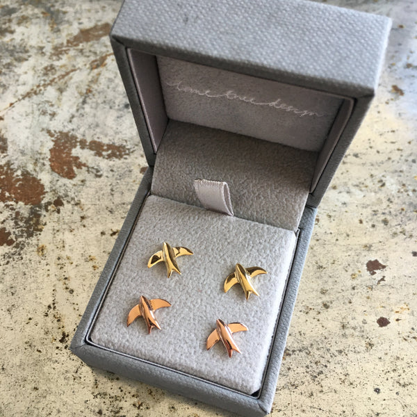 Swallow Stud Earrings Gold or Rose Gold Vermeil
