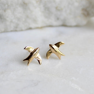 Swallow Stud Earrings 14ct Solid Gold