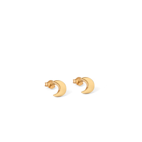 Moon Stud Earrings Gold Vermeil