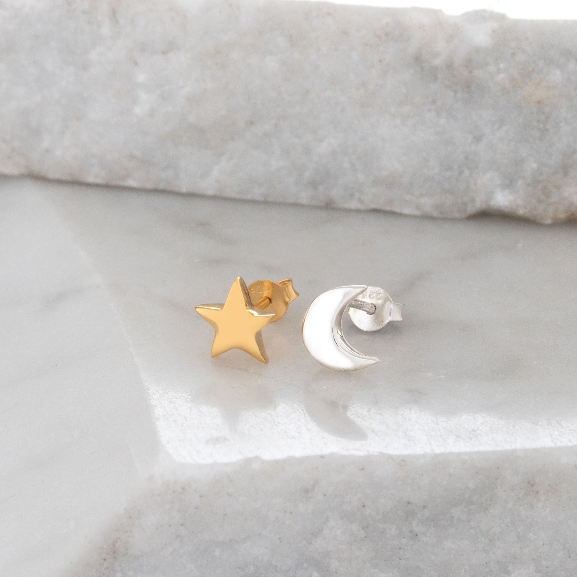 Moon and Star Stud Earrings Sterling Silver and Gold Vermeil