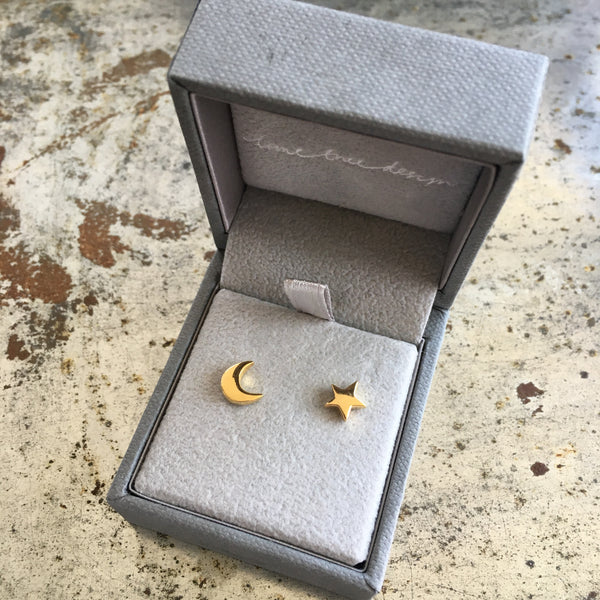 Moon and Star Stud Earrings Gold Vermeil