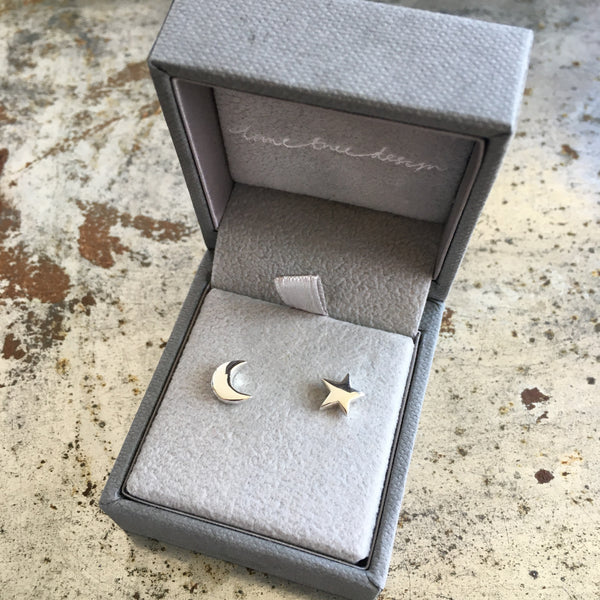 Moon and Star Stud Earrings Sterling Silver