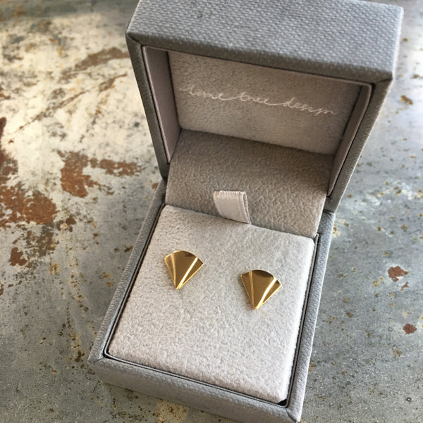 Art Deco Fan Stud Earrings Gold Vermeil