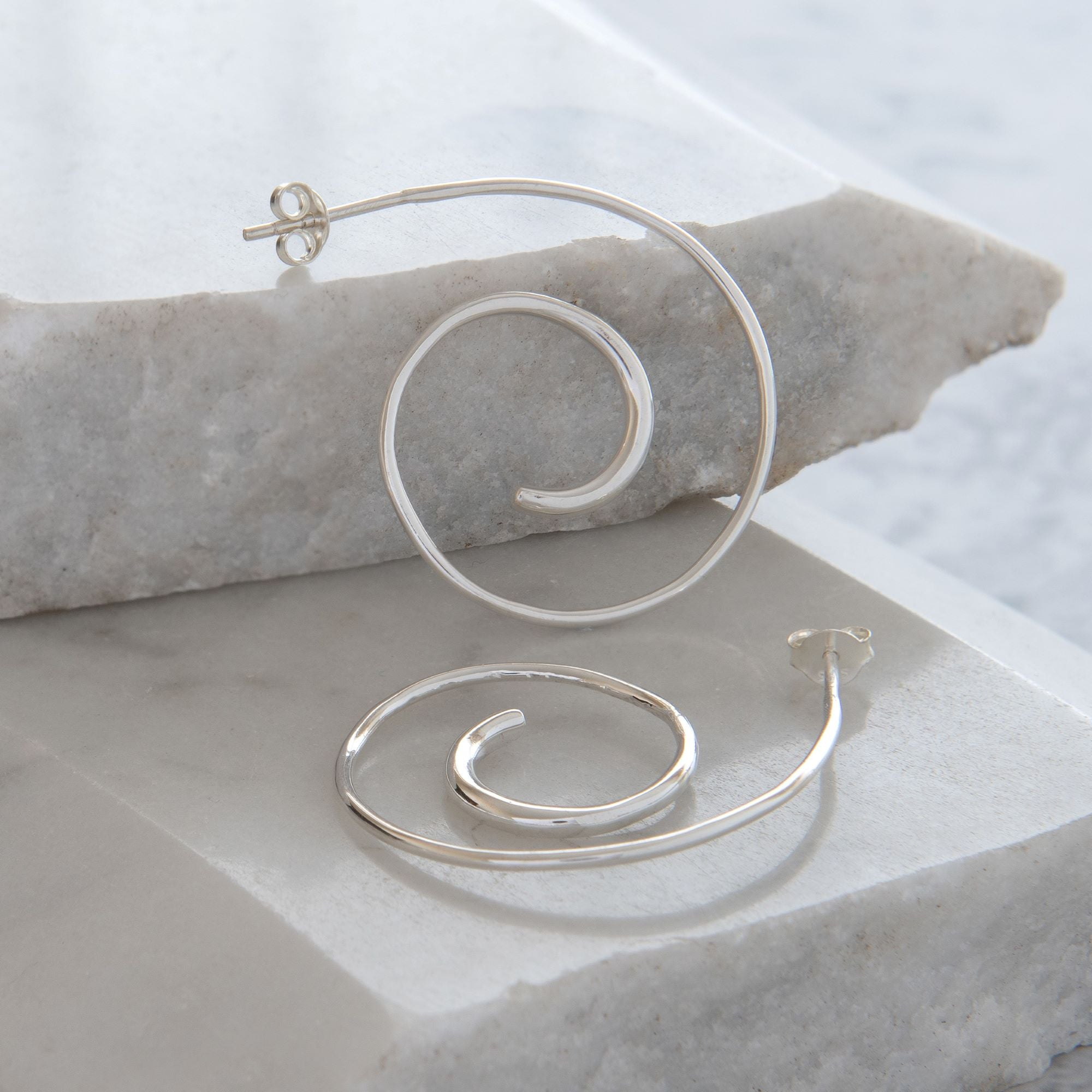 Spiral Hoop Earrings Sterling Silver