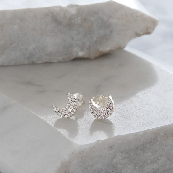 Moon Stud Earrings Diamanté
