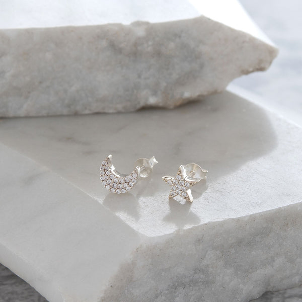 Moon and Star Stud Earrings Diamanté