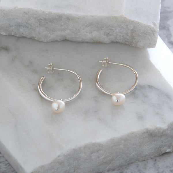 Half Hoop Earrings with Round Pearl Sterling Silver