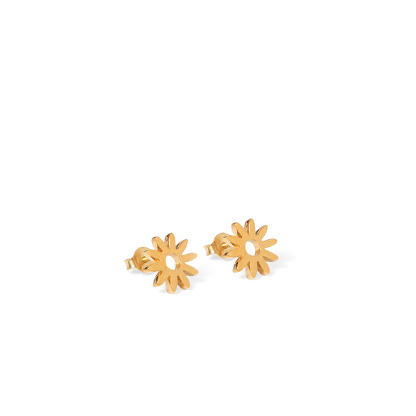 Flower Stud Earrings Gold Vermeil