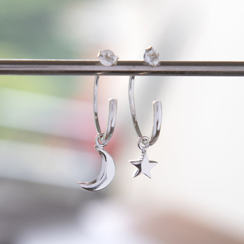 Half Hoop Earrings with Moon and Star Sterling Silver
