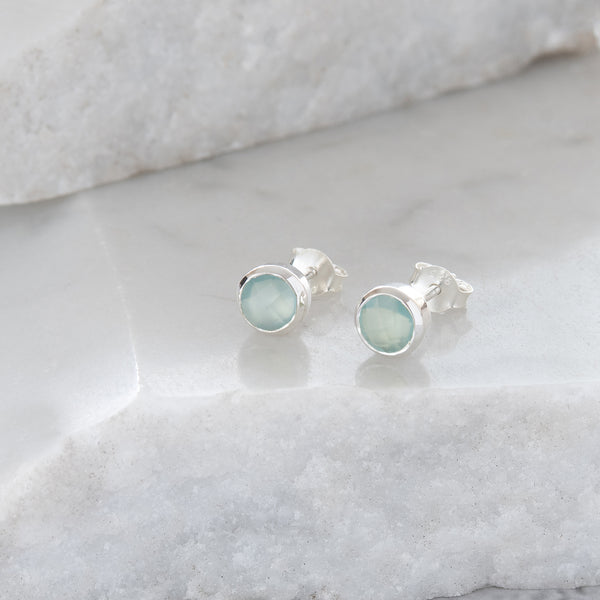 Birthstone Stud Earrings March: Aqua and Sterling Silver