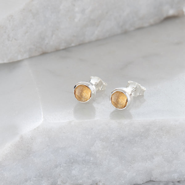 Birthstone Stud Earrings November: Citrine and Sterling Silver