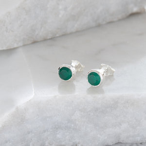 Birthstone Stud Earrings May: Emerald and Sterling Silver