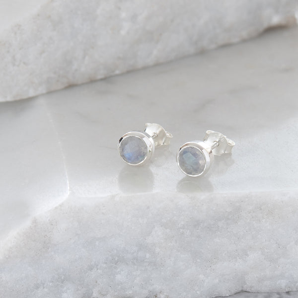 Birthstone Stud Earrings June: Moonstone and Sterling Silver