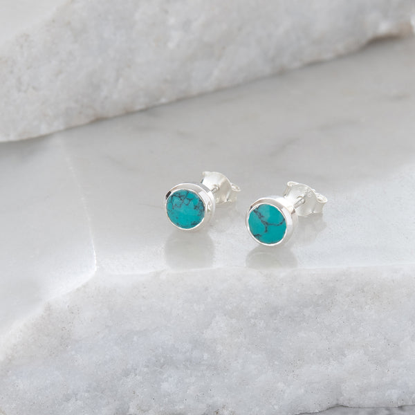 Birthstone Stud Earrings December: Turquoise and Sterling Silver