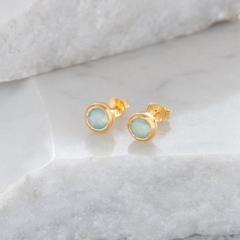 Birthstone Stud Earrings March: Aqua and Gold Vermeil