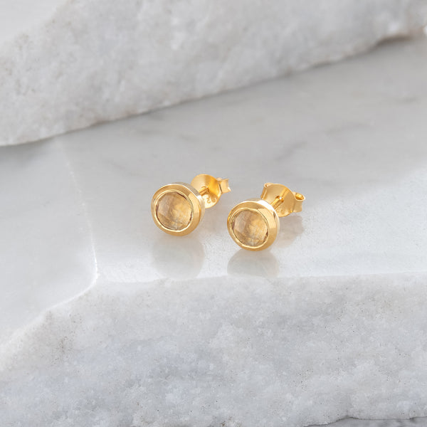 Birthstone Stud Earrings November: Citrine and Gold Vermeil