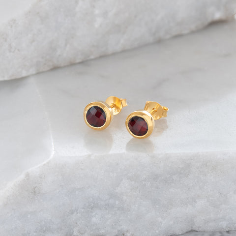 Birthstone Stud Earrings January: Garnet and Gold Vermeil