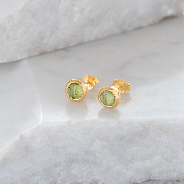 Birthstone Stud Earrings August: Peridot and Gold Vermeil