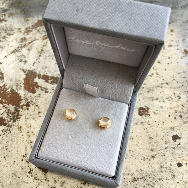 Birthstone Stud Earrings April: Rock Crystal and Gold Vermeil