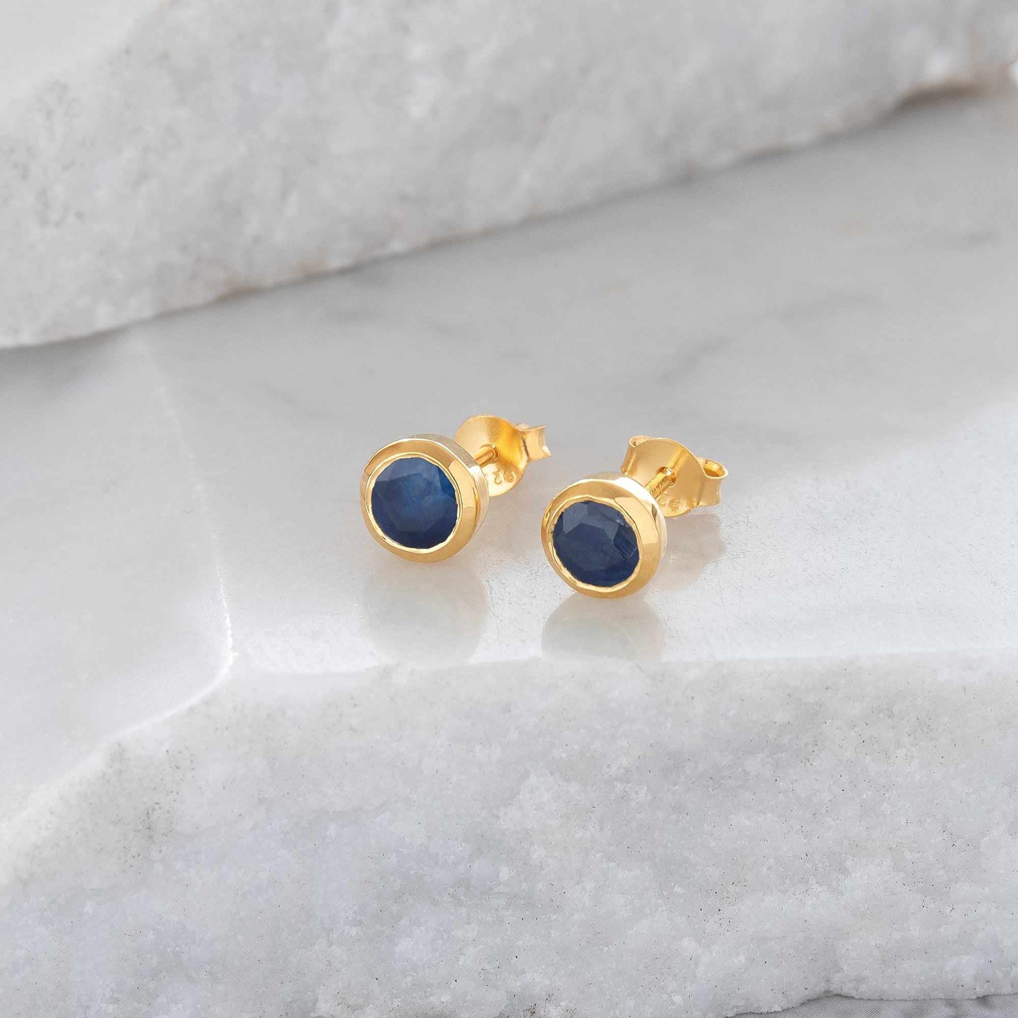 Birthstone Stud Earrings September: Sapphire and Gold Vermeil